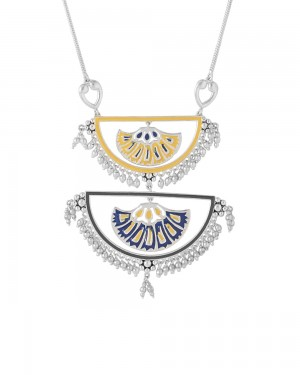 Buy BEAUTIFULLY ENAMELLED SILVER TONE NECKLACE Online