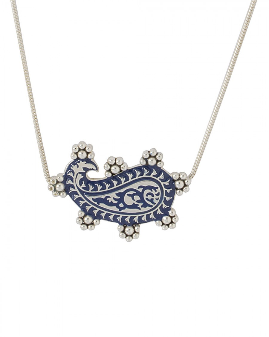 Buy BLUE PAISLEY MOTIF NECKLACE IN SILVER-TONE FINISH Online