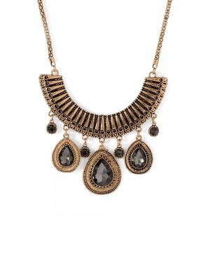 Buy  GLEAMING BLACK STONE ADORNED ATTRACTIVE NECKLACE Online