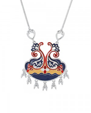 Buy   BEAUTIFULLY ENAMELED SILVER TONE NECKLACE Online