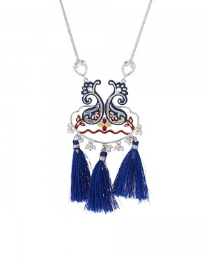 Buy  SILVER TONE NECKLACE ADORNED WITH COLORFUL ENAMEL WORK Online