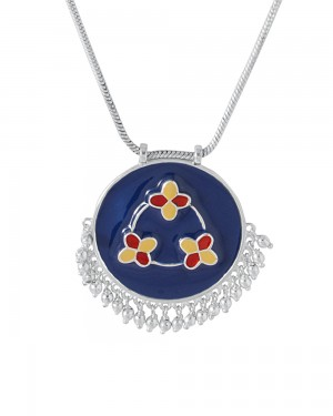 Buy  SILVER TONE BEAUTIFULLY ENAMELED NECKLACE Online