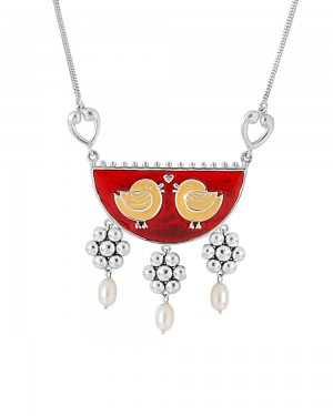 Buy  BIRD DESIGN NECKLACE WITH COLORFUL ENAMEL WORK Online