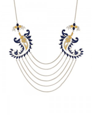 Buy  SILVER TONE NECKLACE ADORNED WITH BLUE AND YELLOW ENAMEL WORK Online