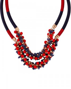 Buy  RED-BLUE BEADED STATEMENT NECKLACE WITH GOLD TONE INTERLINK CHAIN Online