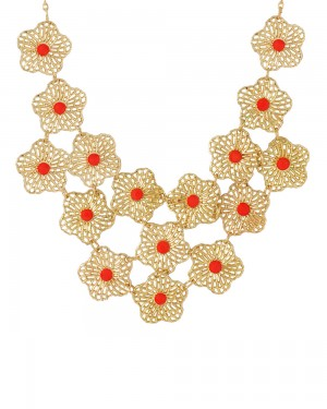 Buy  GOLD TONE FLORAL NECKLACE Online