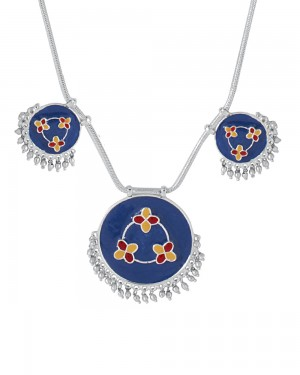 Buy  SILVER TONED ENAMELLED NECKLACE Online
