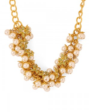 Buy  PEARL ADORNED GOLD-TONED NECKLACE Online