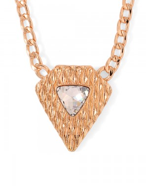 Buy  ROSE GOLD TONED TRAINGULAR MOTIF NECKLACE WITH INTERLINK CHAIN Online