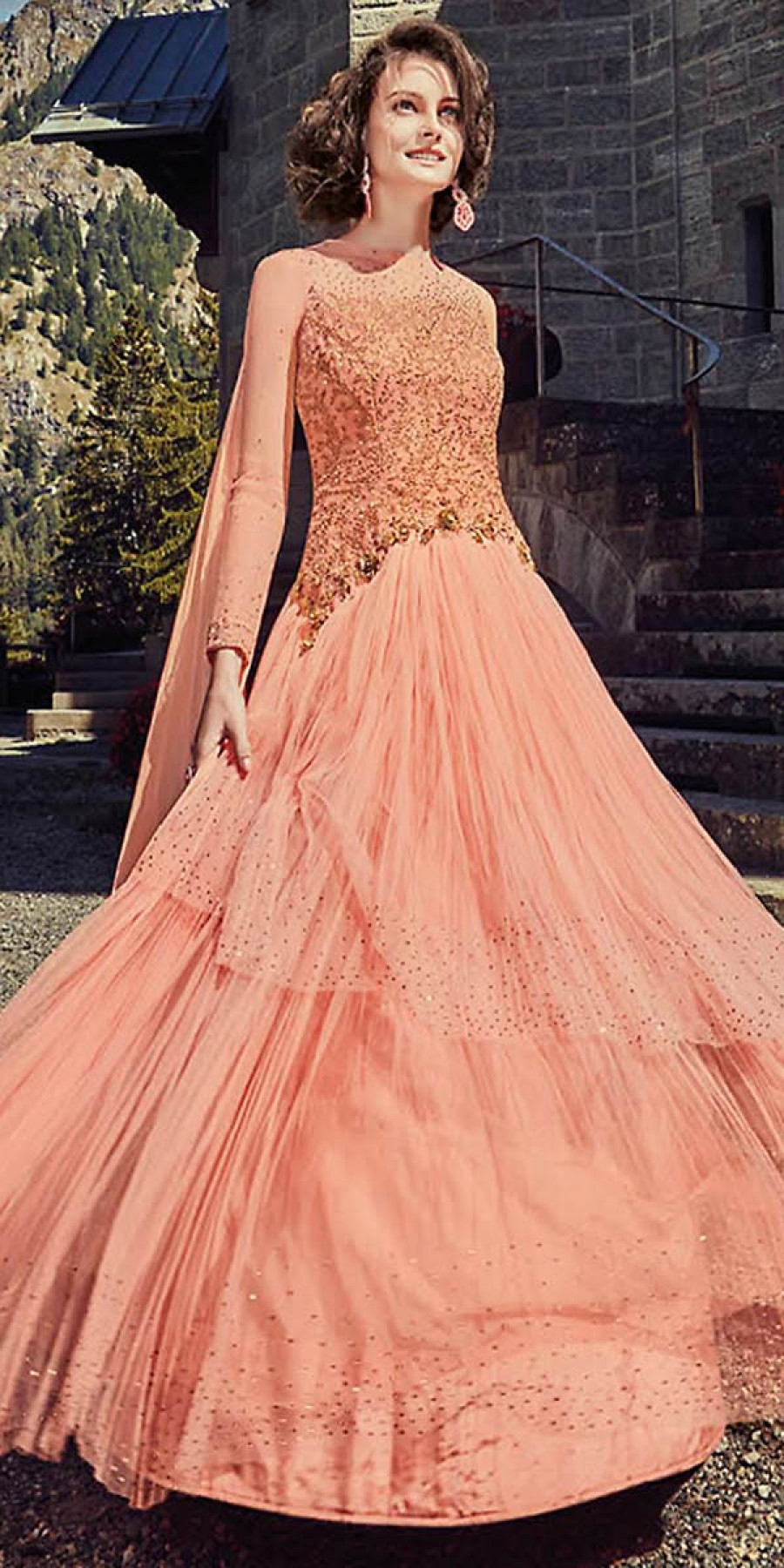 Buy Beauty Peach Georgette Embroidery Gown. Online