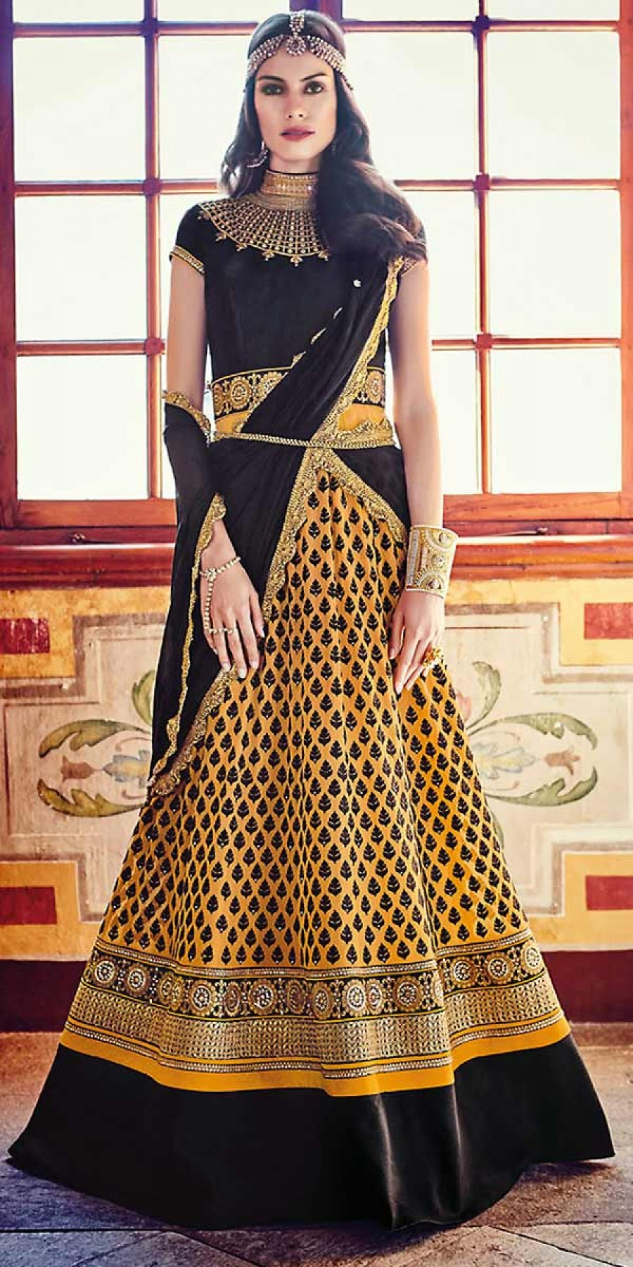 Buy Enticing Black Net Embroidery Gown. Online