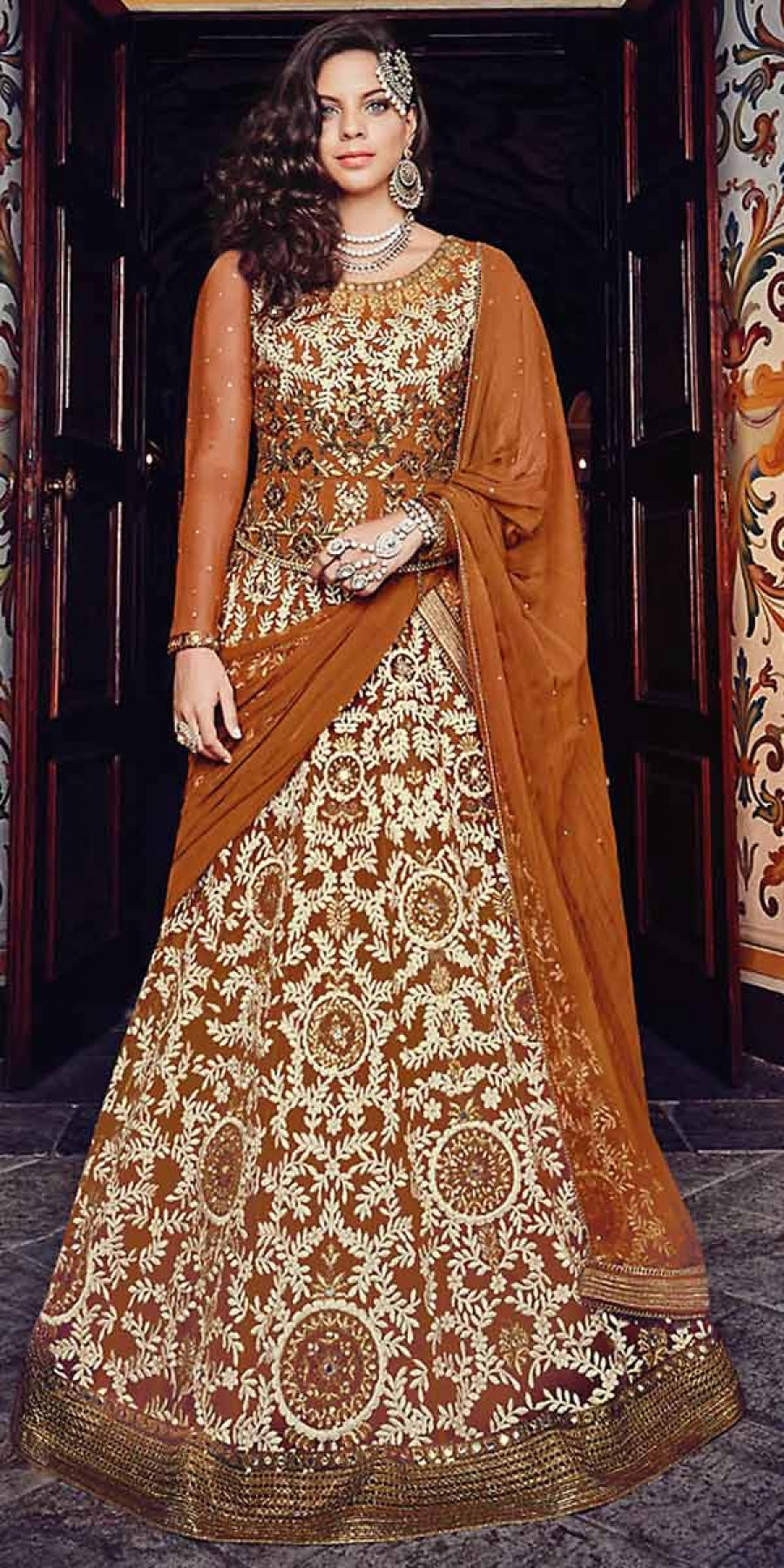 Buy Precious Brown Net Embroidery Gown. Online