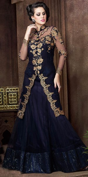 Buy Classy Blue Net Embroidery Gown. Online