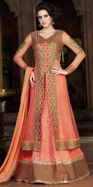 Buy Precious Orange Net Embroidery Gown. Online