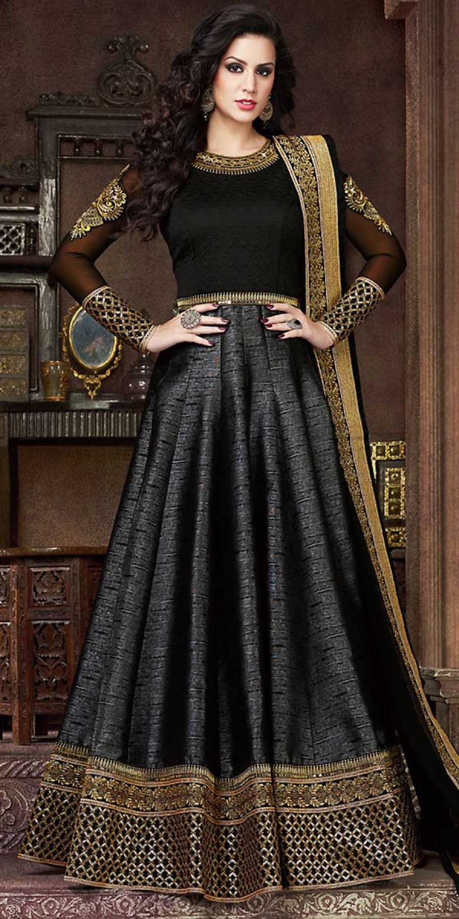 Buy Scintillating Black Silk Embroidery Gown. Online