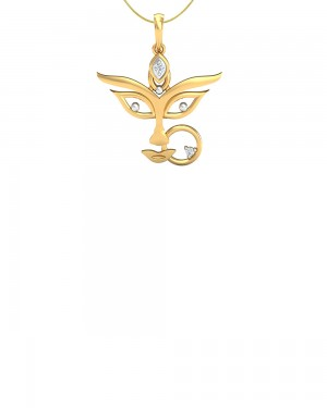 Buy  REAL DIAMOND STERLING SILVER MAA DURGA PENDANT WITH SILVER CHAIN Online