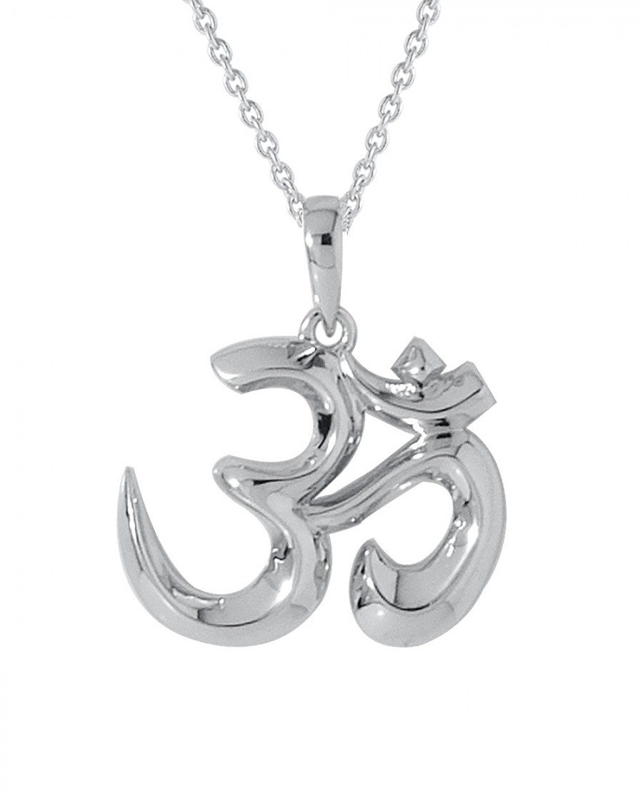 Buy  SPARKLING SILVERY OM PENDANT WITH CHAIN Online