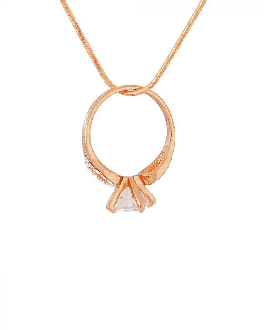 Buy  CZ DECKED RING PENDANT IN ROSE GOLD TONE FINISH Online