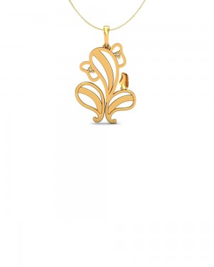 Buy  GOLD PLATED DIAMOND EMBELLISHED STERLING SILVER PENDANT WITH SILVER CHAIN Online