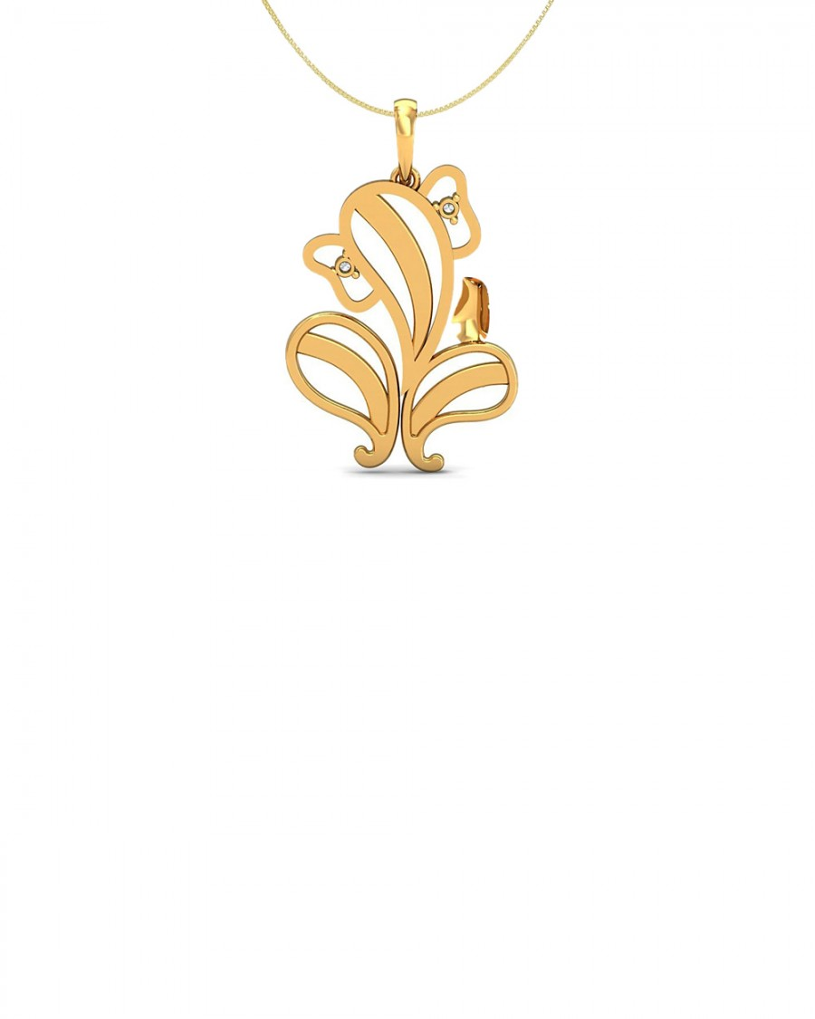 770ce6f3999296 Buy GOLD PLATED DIAMOND EMBELLISHED STERLING SILVER PENDANT WITH SILVER  CHAIN Online