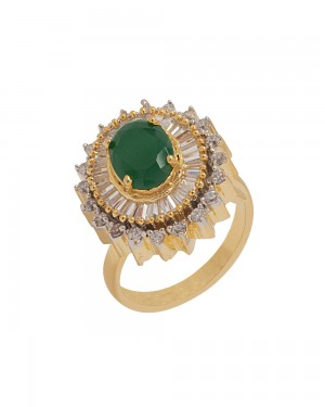 Buy  GOLD TONE GREEN STONE ADORNED SOLITAIRE RING Online