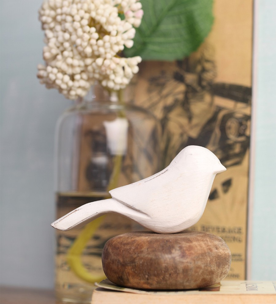 Buy  Peacock Life White Wooden Bird on Pebble Showpiece Online