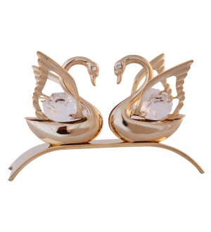 Buy G n G 24K Gold Plated with Swarovski Crystals Double Swan Showpiece Online