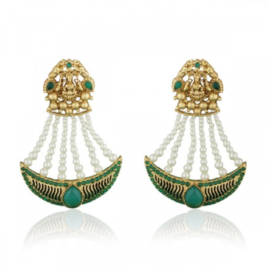 Buy  Scintillating Gold plated temple earring Online