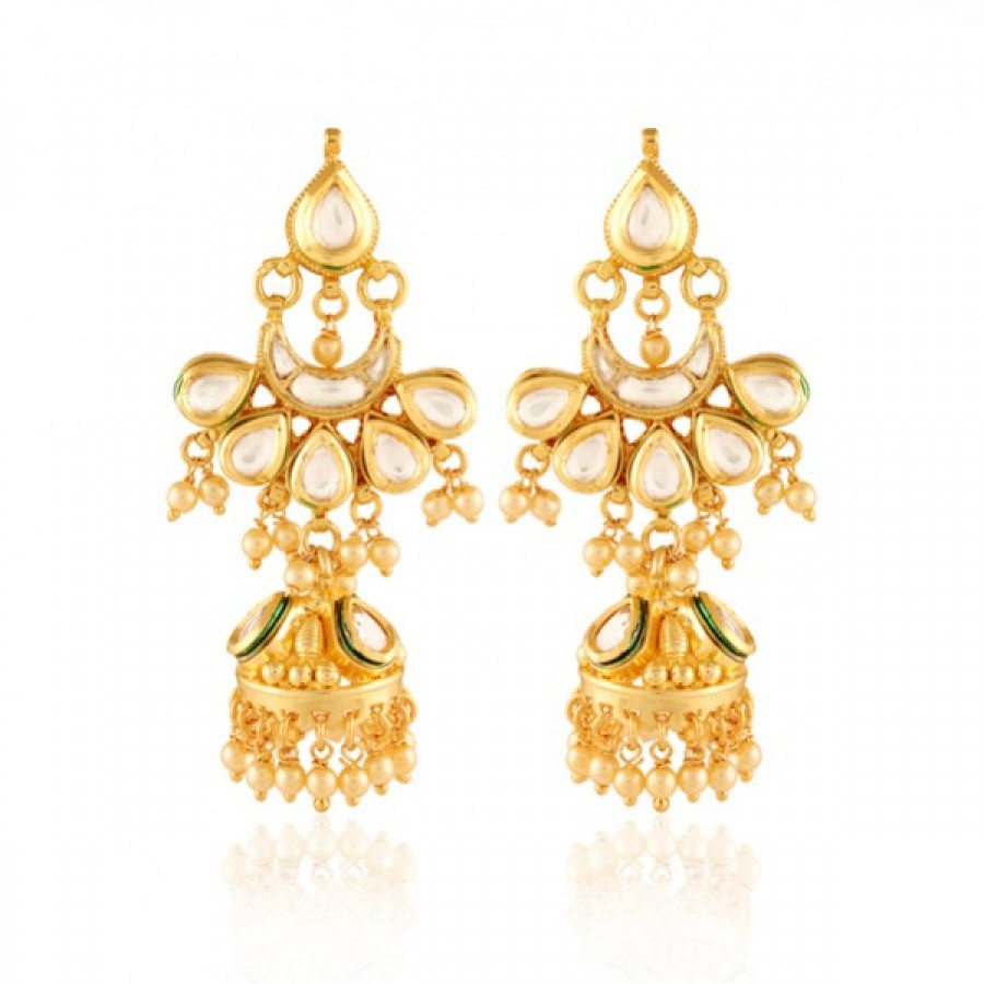 Buy  Ornate Gold plated chaand jhumka Online