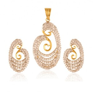 Buy Majestic Gold plated American Diamond pendant set Online