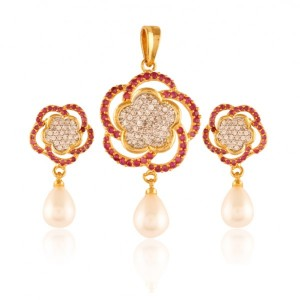 Buy  Royally Rich Gold plated American Diamond pendant set Online