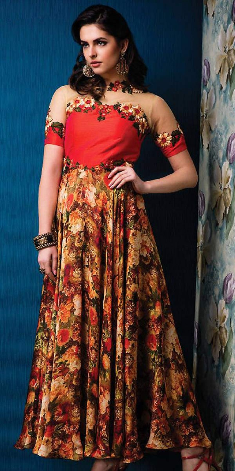 Buy Enticing Red Silk Printed Gown. Online