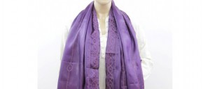 Buy  Violet Silk Stole with Hexagonal Embroidery Pattern Online