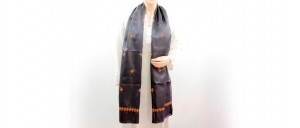 Buy  Black Silk Stole with Floral Embroidery Online