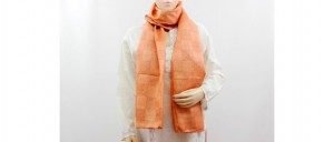 Buy  Peachy Orange Silk Stole with Check Pattern Embroidery Online