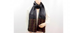 Buy  Black Silk Stole with Circular Embroidery Patterns Online