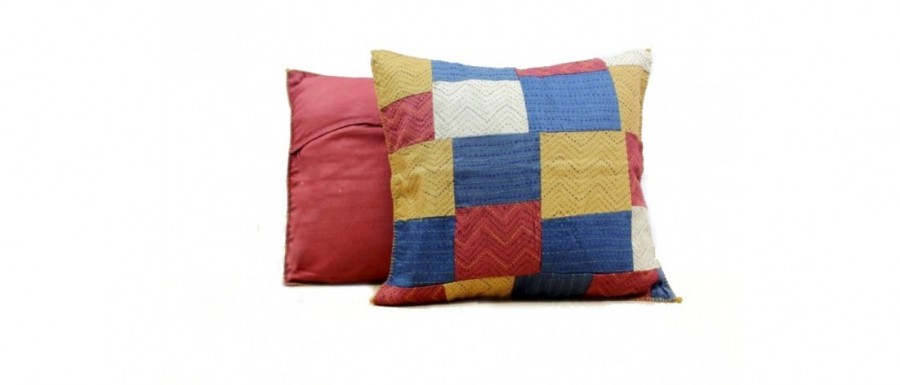 Buy  Lines and Blocks Silk Cushion Cover  Golden Online