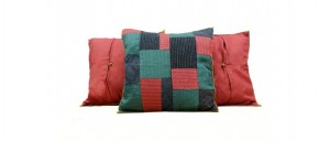 Buy  Lines and Blocks Silk Cushion Cover Red Online