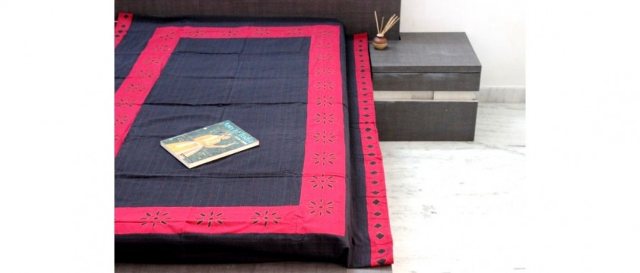 Buy  Black-Red Single Bed Sheet with Cutwork Online