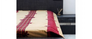 Buy  Cream-Red Single Bed Sheet with Floral Applique Online
