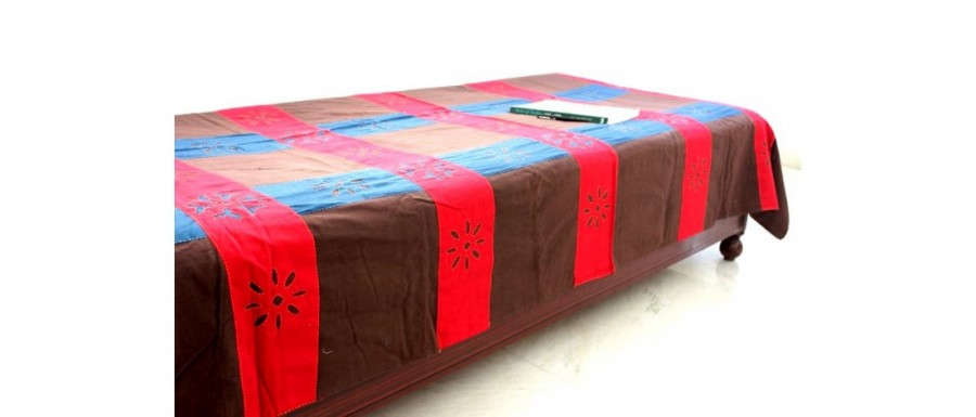 Buy  Brown-Red Single Bed Sheet with Cutwork Online