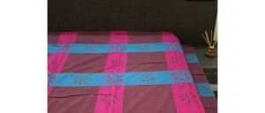 Buy  Pink Purple Single Bed Sheet with Cutwork Online