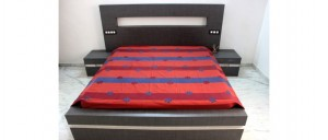 Buy  Orange Double Bed Sheet with Intense Tanka & Floral Applique Work Online