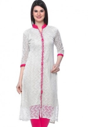 Buy  WCSE Self Design Women s Kurti White Online