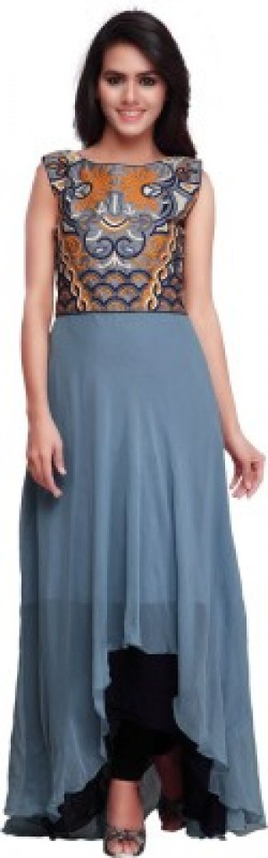 Buy  Kvs Fab Party Embroidered Women s Kurti Grey Online