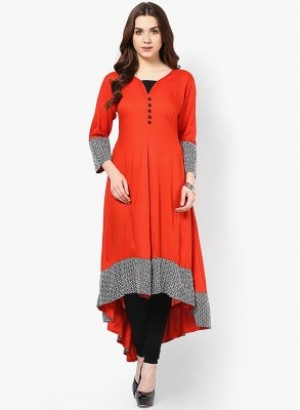 Buy  Ethnic For You Casual  Party Self Design Women s Kurti Red Online