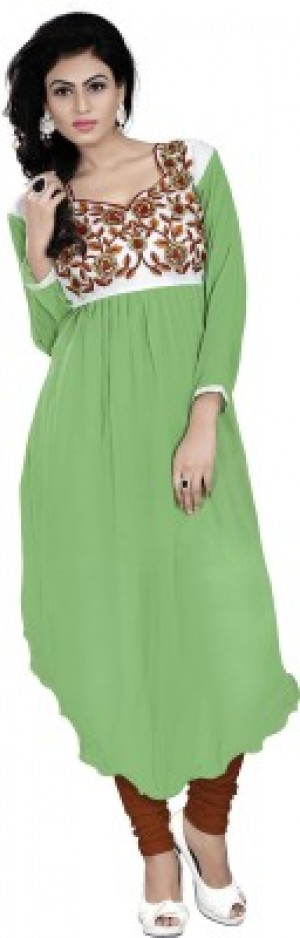 Buy  Jiya Party  Festive Self Design  Embroidered Women s Kurti Light Green White Online