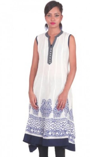 Buy  PurpleYou Casual Printed Women s Kurti White Online