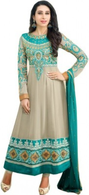 Buy  Chatri Fashions Synthetic Georgette Embroidered Semi stitched Salwar Suit Dupatta Material Semi stitched Online