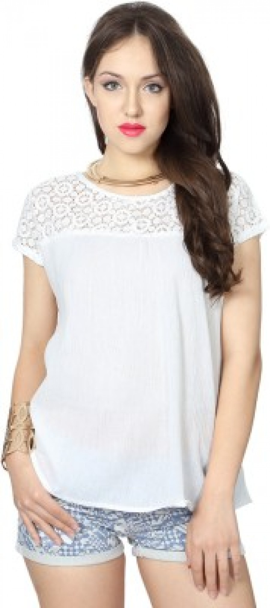 Buy People Casual Short Sleeve Self Design Women s White Top Online cd489a6d6